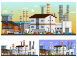 Conjunto de composições ortogonais de edifícios industriais vetor