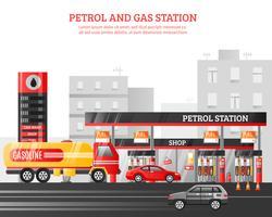 Ilustração de gás e posto de gasolina