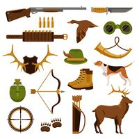 Conjunto de tiro e caça vetor