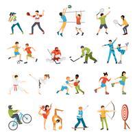 Conjunto de ícones de esporte de crianças vetor