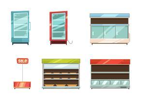 Supermercado exibe prateleiras prateleiras conjunto de ícones vetor