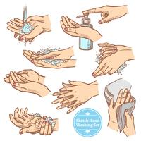 Esboço mãos lavando o conjunto de higiene vetor