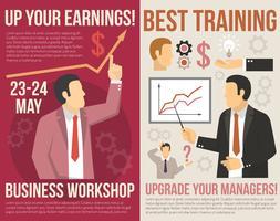 Banners verticais planos de consultoria de treinamento de negócios