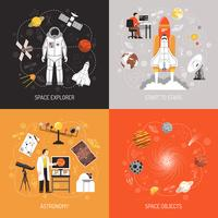 Conceito de design de astronomia 2 x 2 vetor