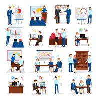 Conjunto de ícones plana de consultoria de treinamento de negócios vetor