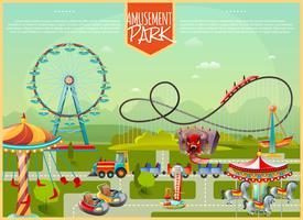 Ilustração vetorial de parque de diversões