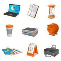 Conjunto de ícones realista de negócios vetor