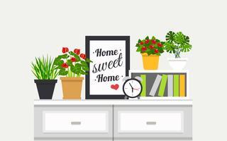 Estante Interior Com Design Houseplants vetor