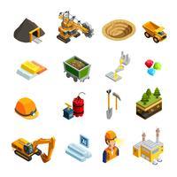 Conjunto de ícones isométrica de mineração vetor