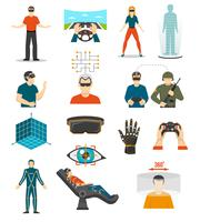 Conjunto de videojogos de realidade virtual vetor