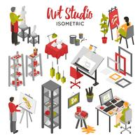 conjunto isométrico de estúdio de arte