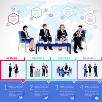 Reunião, pessoas, infográficos, jogo vetor