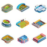 conjunto de estádios de imagens isométrica