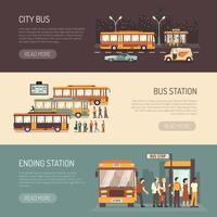 Conjunto de Banners horizontais plana de ônibus da cidade
