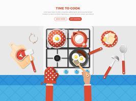 Cozinhando o cartaz da vista superior