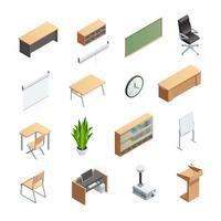 Conjunto de ícones de elementos interiores de sala de aula vetor