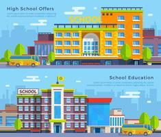 Banners de escola plana vetor