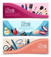 Conjunto de Banners de maquiagem de beleza cosméticos vetor