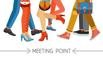 Homens e mulheres pernas e calçado