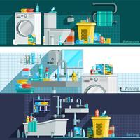 Banners horizontais planas de ícones de higiene
