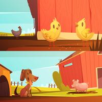 Animais de fazenda 2 Banners horizontais de desenho animado