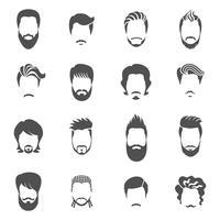 Conjunto de ícones pretos homem de penteado