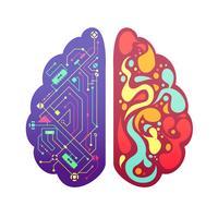 Imagem colorida simbólica do cérebro esquerdo direito vetor