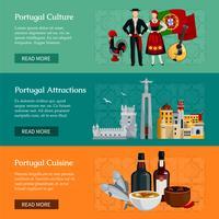 Banners planos de Portugal vetor
