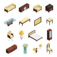 Elementos isométricos interiores de luxo