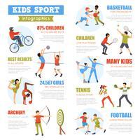 Conjunto de infográficos de esporte de crianças vetor
