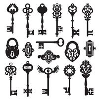 Conjunto de chaves e fechaduras pretas vetor