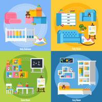 Conceito de Design Flat 2x2 de quarto de bebê