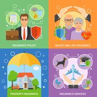 Serviços de seguros 4 Flat Icons Square vetor