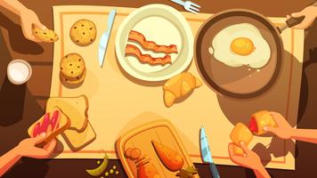 Mesa de café da manhã vista superior vetor