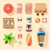 Coleção de ícones de vista superior de acessórios de praia