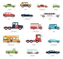 Coleção plana de diferentes modelos de carros vetor