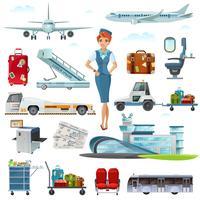 Conjunto de ícones plana de acessórios de voo do aeroporto vetor