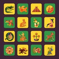 Conjunto de ícones de verde e amarelo maia