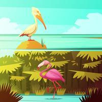 Conjunto de Banners retrô Horizantal de aves tropicais