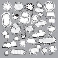 conjunto de bolhas brancas pretas pop art