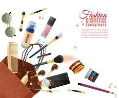 Fundo de cosméticos moda vetor
