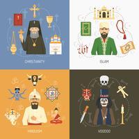 Conceito de religiões 4 Praça de ícones planas