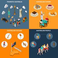 Praça de ícones isométrica de viagem 4 de Austrália vetor