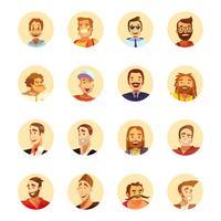 Homem, avatar, ícones, caricatura, redondo