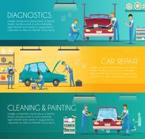 Centro de reparação de carros retrô Cartoon Banners vetor
