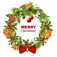 Grinalda de ramos de baga de Natal vetor