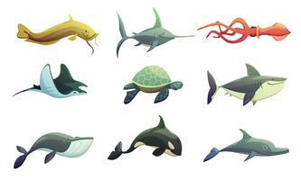 Conjunto de desenhos animados de peixes e animais marinhos vetor