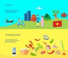 Cultura Vietnamita 2 Banners Plano Horizontais vetor