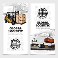 Banners verticais de logística global vetor