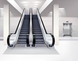 Conceito realístico interior da escada rolante vetor